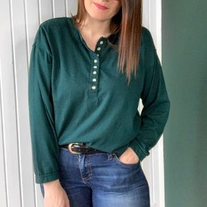 Vintage 1990s Green Long Sleeve Henley Top